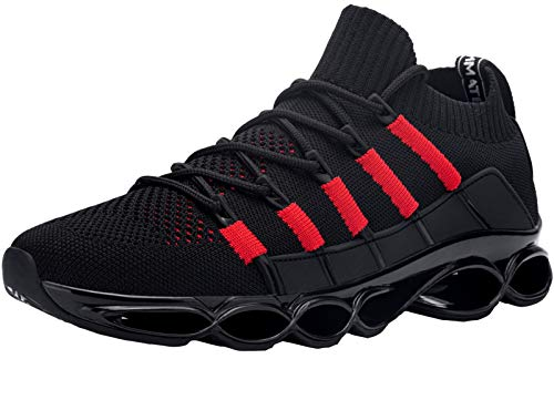 DYKHMATE Turnschuhe Herren Laufschuhe Antishock Atmungsaktiv Straßenlaufschuhe Schnürer Sportschuhe Fitness Walkingschuhe(Schwarz Rot,46 EU)