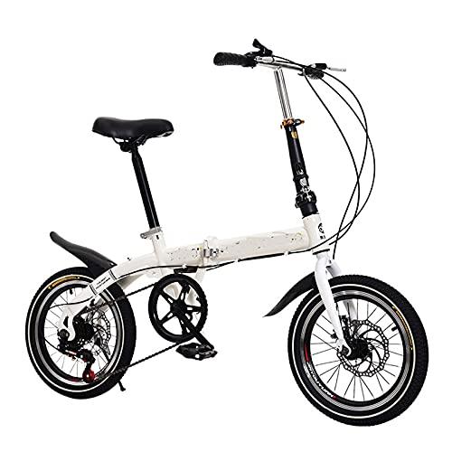 Bicicleta de la ciudad de las mujeres plegables, bicicleta ciudad portátil transmisión de 6 velocidades, marco acero de alto carbono, breakes doble disco Bicicletas para niños, Unisex, 16 ',Blanco