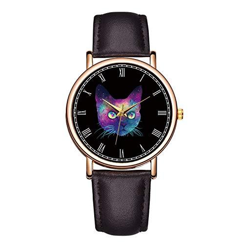 SYWY Creativo Pareja Reloj de Lujo Marca de Lujo Reloj de Pulsera Lindo Amante Gato Esfera Mujer Relojes Denim Banda Chicas Reloj relogio Feminino (Color : 08 Brown)