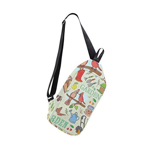 EZIOLY Garten-Set Schulter-Rucksack, Schultertasche, Brusttasche, Umhängetasche, Reisen, Wandern, Tagesrucksack für Männer und Frauen