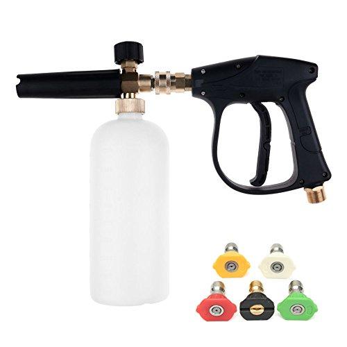 NUZAMAS Hochdruckreiniger Pistole mit 5 Wasserdüse Spitze & 1L Schnee Schaum Lanze Flaschenkit für Auto Boden Deck Fenster Reinigung M22 metrische Innengewinde Fitting
