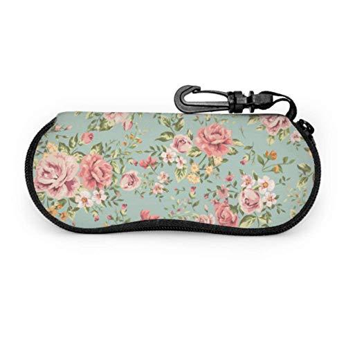 Patrón clásico de flor de rosa vintage en estuche verde Gafas de sol Estuches para anteojos de seguridad Estuche blando con cremallera portátil ligero Estuche para gafas para adolescentes