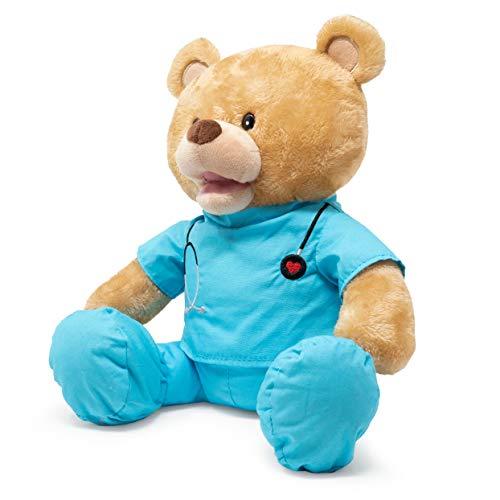 Product Image 3: Cuddle Barn | Feel Good Glenn 10″ Bear Animated Stuffed Animal Plush Toy | Teddy Bear in Blue Scrubs Sings I Feel Good