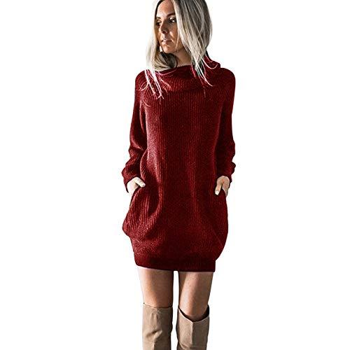 Janly Clearance Sale Vestidos de mujer para fiesta de noche, para mujer de manga larga cuello alto vestido de punto vestido de jersey de cuello redondo para mujer Mini para el día de Navidad (vino-S)