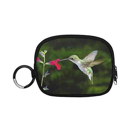 Brieftasche Münzfach Weibliche Ruby Throated Kolibri Fütterung Am Roten Sa Geldbörse Mini Beutel Kleine Münzfach Reißverschluss Mit Schlüsselbund Ring Für Mädchen Frauen Kinder