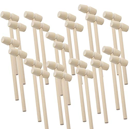 LUTER 24 Pezzi Mini Martello di Legno Granchio Aragosta Mazze Martellante Giocattolo per Bambini frutti di mare Shell Crack Hammer Craft Making Tool