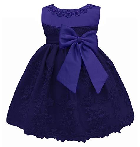 DEMU baby meisjes prinses jurk feestkleding mouwloos bruiloft bloemen bowknot doopjurk 6M donkerblauw