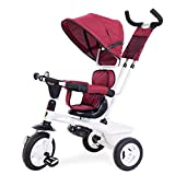 YLZT Nuevo Cochecito de Bicicleta para niños Triciclo 2-5 años de Edad Modos de conversión guía integrada,Rojo