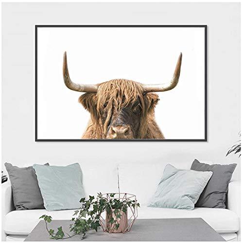 Lienzo de arte de pared, póster con estampado de vaca de las tierras altas, pinturas de ganado, imagen para sala de estar, decoración de pared en blanco y negro, 60x80cm sin marco artppolr