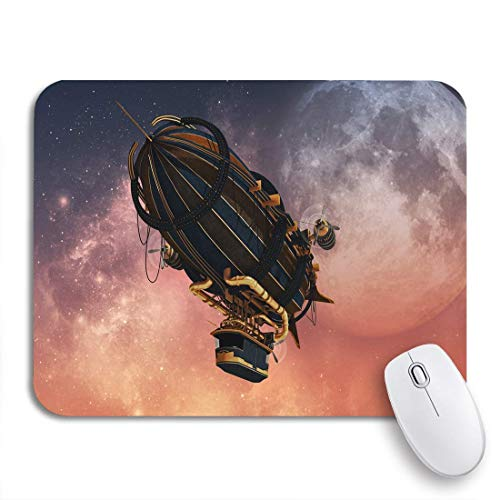 Gaming Mouse Pad Luftschiff 3D-Computergrafik von Zeppelin in Steampunk Steam rutschfeste Gummi-Backing-Computer-Mauspad für Notebooks Mausmatten
