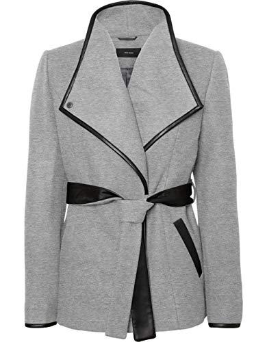 Vero Moda korte jas met kunstlederen afwerking en riem, kleur lichtgrijs