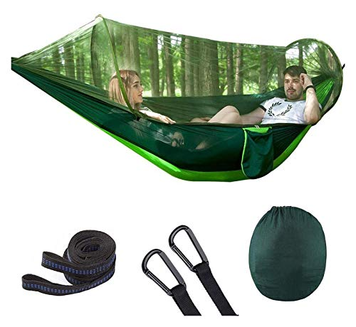 WERTYG Camping Hammock with Mosquito Double Parachute Hammocks Swing Sleeping Hammock Bed with Net Tent for Garden Yard Camping (Size:M; Color:Green) (Color : B, Size : Medium)