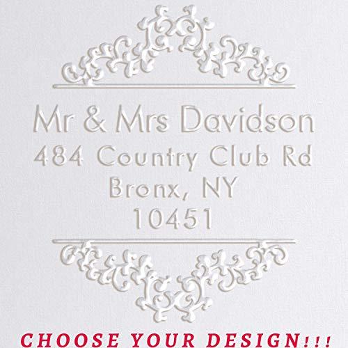 "20 Designs! Return Address Embosser Seal Stamp Personalized Customized Monogram Wedding Invitiations 1 x 5/8"" (Design 3)"