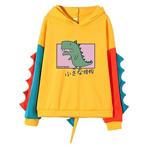 Women Sweatshirts Dinosaur Print Hoodies Drawstring Jumper Girls Tunic Tops Oversized Long Sleeve Round Neck Sweatsuit