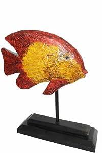 Naturesco Hübscher farbenfroher Holzfisch auf Fuss als Bad-Deko 25cm