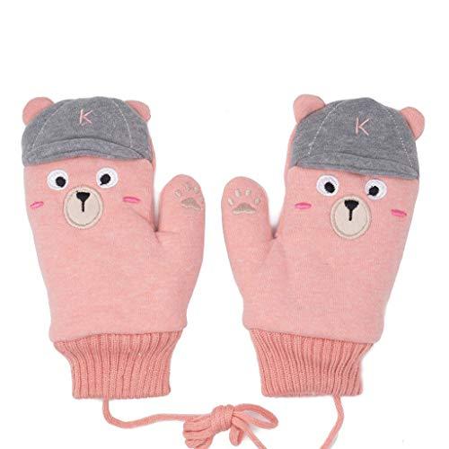 ZXC Home Winterhandschoenen voor kinderen, warm fluweel, katoen, fluweel, outdoor, cartoon en vingers, 6 kleuren optioneel