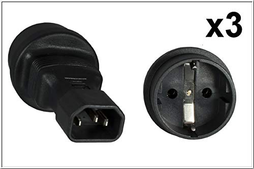 DINIC Stromadapter, Netzadapter Schutzkontakt-Buchse CEE 7/3 auf C14 Kaltgeräte-Stecker, Adapter (3 Stück, schwarz)