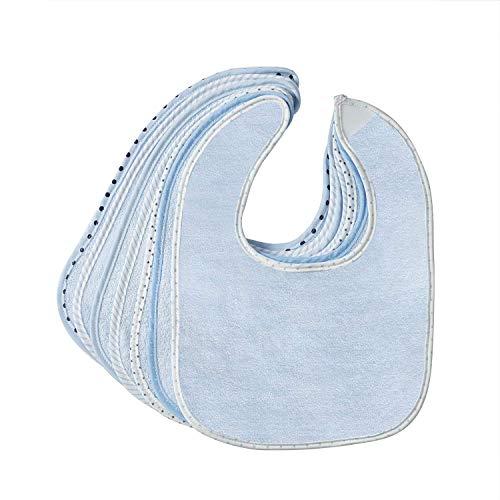 7er Baby Lätzchen Jungen Blau Spucktuch Lätzchen Baumwolle Bedruckte Webkante Weich und Bequem Doppeltuch Saugfähig Sabberlätzchen mit Klettverschluss von Future Founder