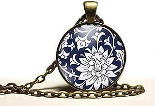 """Collana cabochon, collana di fiori illustrati""""Fiori blu"""", Regalo di Natale per idea regalo moglie - San Valentino- regalo ..."""