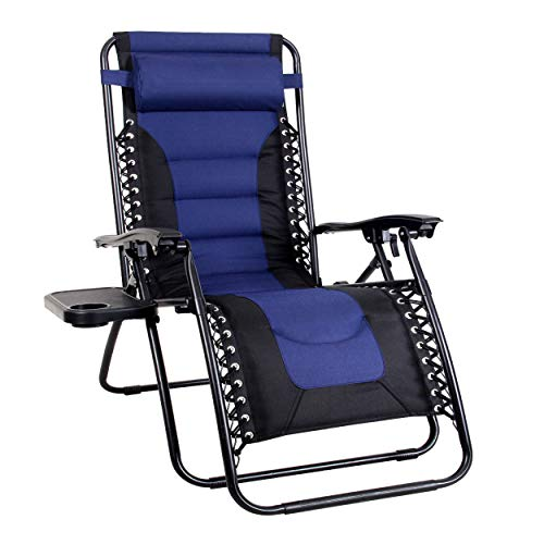 MFSTUDIO Zero Gravity Chair Large Portable Patio Recliners Adjustable Padded Folding Chair with Cup Holder for Poolside Outdoor Yard Beach, Navy Blue