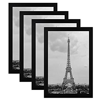 FRAMICS 4 Pack 8x12 Picture Frames, Display 8x12 Photo Without Picture Mat, Black Picture Frames Made of Solid Wood for Wall Mounting or Table Top, Mounting Hardware Included