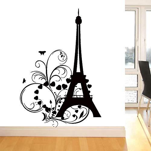 Boezhl Torre Pegatinas de Pared jardín de Infantes Dormitorio de los niños corazón de París Mariposa Tatuajes de Pared de Vinilo decoración romántica Sala de Estar Fondo 42x28cm
