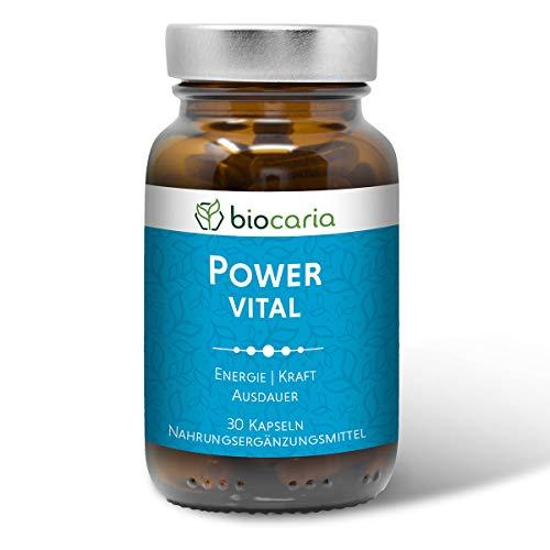 Biocaria POWER VITAL - für Energie, Kraft und Ausdauer | mit Extrakten aus Ginseng und Guarana mit natürlichem Koffein | Taurin und Q10 I 30 vegane Kapseln | laborgeprüft, deutsche Herstellung