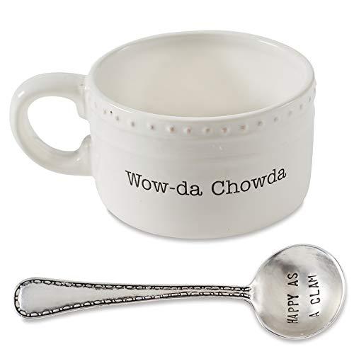 Mud Pie Chowder Spoon Soup Bowl Set, One Size, White