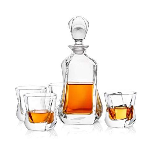 Rabbfay Whisky Decantador - Cristal Moderno Decantador - Sin Plomo Pequeño Espíritu Licorera con Tapón - Bebida alcohólica Licorera por Whisky, Borbón, Brandy, Espíritu, y Ron - escocés Bar Envase