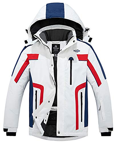Wantdo Men's Ski Jacket Hooded Waterproof Mountain Rain Coat White XL