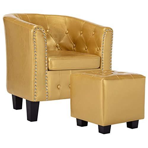 Irfora Chesterfield Sessel mit Hocker Loungesessel Clubsessel Cocktailsessel Polstersessel Relaxsessel Fernsehsessel Armsessel für Wohnzimmer Schlafzimmer, Glänzendes Golden Kunstleder