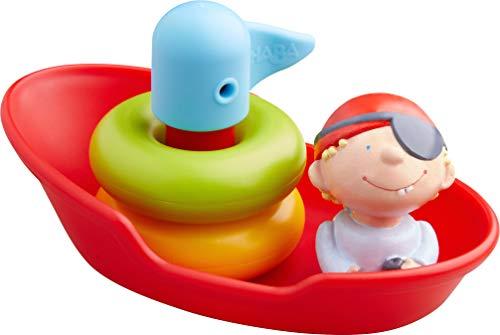 HABA 304906 - Steckspiel Boot, Wasserspielzeug für Kinder ab 18 Monaten mit 5 Teilen, Piratenboot als Steckspiel für die Badewanne 14 cm für Kinder ab 1,5 Jahren