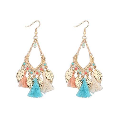 angel3292 Clearance Deals Bohemian Ethnic Style Tassels Metal Leaf Long Drop Hook Earrings Women Jewelry
