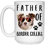 N\A Funny Father of A Border Collie Blanco Negro Blanco Tri Color Sunset Retro White Coffee Mug