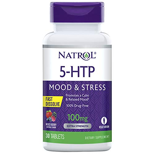 Natrol 5-HTP Fast Dissolve Tablets, Promotes a Calm Relaxed Mood, Helps Maintain a Positive Outlook, Enables Production of Serotonin, Drug-Free, Controlled Release, Maximum Strength, Wild Berry Flavor