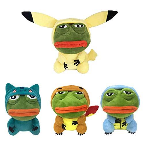 4 STÜCKE Traurige Frosch Plüschtiere, Mantel Pikached Cosplay Gefüllte Puppe Pokononed Charmander Squirtle Bulbasaur für Kinder Laimi