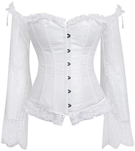 PANOZON Halloween Donna Elegante Underbust Corsetto Spalla Pizzo Manica Lunga Body Shapewear (2X-Large, R Bianco)