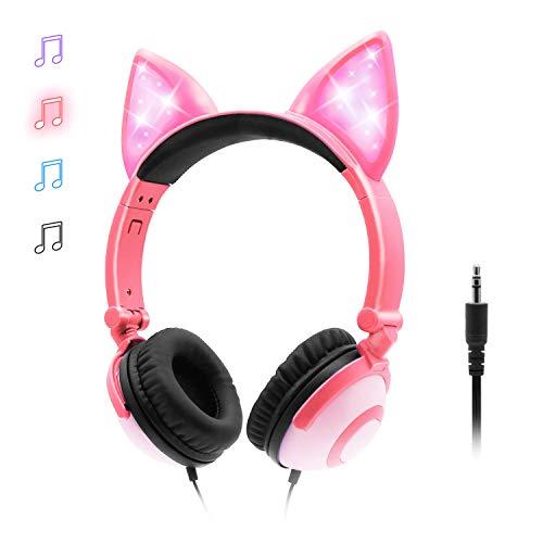 ONTA Kopfhörer Kinder mit niedlichen LED Leuchtenden Katzenohren 85dB Volume Lautstärke begrenzt Faltbar Verstellbare On Ear Kinder Kopfhörer für Jungen und Mädchen (Rosa)