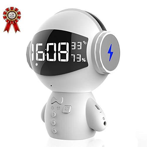 Reloj Despertador Inteligente LED, Robot Multifunción, Altavoz Bluetooth, Tesoro De Carga Usb, Radio FM, Función De Cantar Micrófono,Blanco