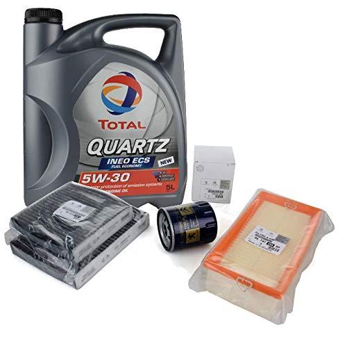 Kit Filtros Puesta a Punto Original Peugeot Citroen - Total Quartz Ineo ECS 5w30 + Aire, Aceite, Habitáculo para Motores 1.0/1.2VTi 2013-