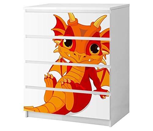 Set Möbelaufkleber für Ikea Kommode MALM 4 Fächer/Schubladen Kinderzimmer Cartoon Drache Dragon Kat2 Dino rot Fantasy Märchen ML4 Aufkleber Möbelfolie sticker (Ohne Möbel) Folie 25B2564