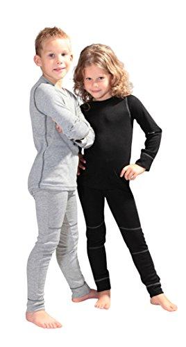 icefeld® - Oddychająca bielizna termiczna zestaw dla dzieci – ciepła bielizna z górnej części z długim rękawem + długie majtki: szara w rozmiarze 98/104