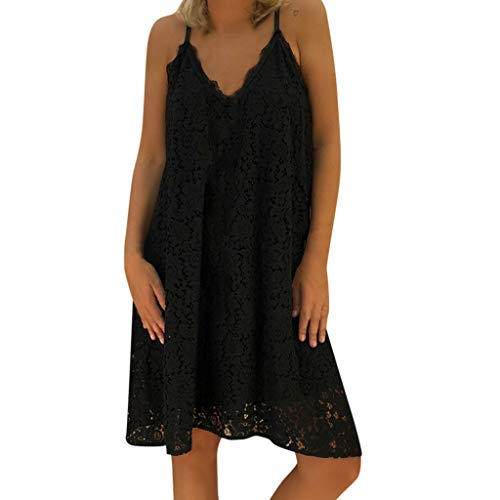 Best Buy! ZOMUSAR Women's Summer Sleeveless Solid Casual V Neck Dress Loose Plus Size Lace Dress for...