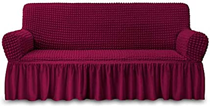 NICEEC Sofa Slipcover Red Sofa Cover 1 Piece Easy Fitted Sofa Couch Cover Universal High Stretch Durable Furniture Protector with Skirt Country Style (3 Seater Wine Red)
