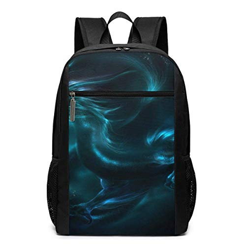 IUBBKI Backpack 17 Inch Laptop Backpack Water Resistant Anti Theft Shockproof Slim Travel Computer Pack for College Business Travel Canvas School Bag Blue Dragon Art