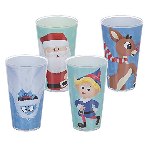 Rudolph The Red-Nosed Reindeer 16 oz. Glasses - Set of 4