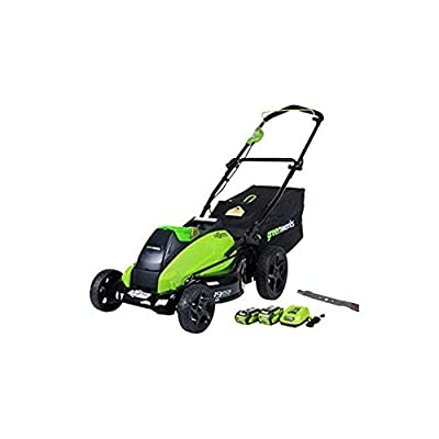 GreenWorks 19-Inch 40V Cordless Lawn Mower + Extra Blade, (1) 4Ah (1) 2Ah Batteries and Charger Included 2519302AZ