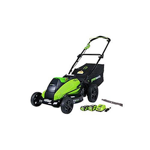 Greenworks 40V 19 inch Cordless Lawn Mower with Extra Blade, (1) 4Ah (1) 2Ah Batteries and Charger Included, 2500502