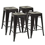 Metal Bar Stools Set of 4 Counter Height Barstool Stackable Barstools 24 Inch 30 Inch Indoor Outdoor Patio Bar Stool Home Kitchen Dining Stool Backless Bar Chair (Black, 24')