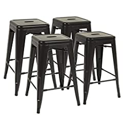 ✔【SELECT HIGH QUALITY MATERIALS】: This bar stools made of high strength iron. Bar stools formed by a mold, superb welding process to create the perfect barstools,Each metal bar stool has a X-brace under the seat that provides additional support and s...